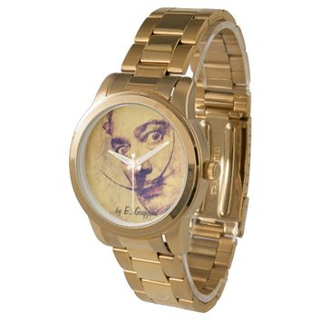 TRIBUTE TO SALVADOR DALI, men golden wrist watch