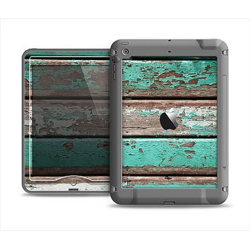The Chipped Teal Paint On Wood Apple iPad Mini LifeProof Nuud Case Skin Set