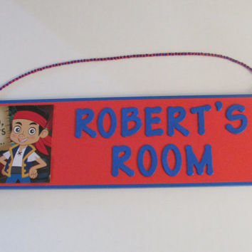 Disney Jake and the Neverland Pirates Personalized Room Decor Sign - Pirate Name Sign - Pirate Boys Room Decor