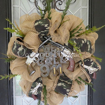 Burlap Wreath, Everyday Wreath, Front door wreath, Camo, Door Hanger, Large Wreath