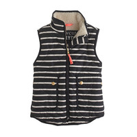 Girls' excursion quilted vest in stripe - puffer - Girl's jackets & outerwear - J.Crew