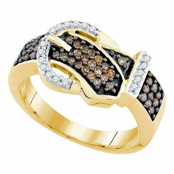 10kt Yellow Gold Women's Round Brown Color Enhanced Diamond Belt Buckle Band Ring 1-2 Cttw - FREE Shipping (US/CAN)