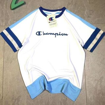 Champion Summer Fashion Women Casual Print Breathable Blue White Stitching Sport Short Sleeve T-Shirt Top I12351-1