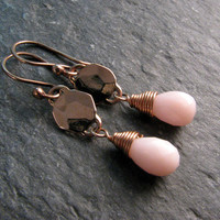 Pink Opal Earrings in Bronze - Modern Romance Collection - Pink and Gold Dangle Earrings