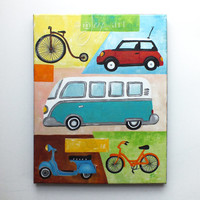 Vintage Transportation painting, Car and Bike themed art for home, office or kids room