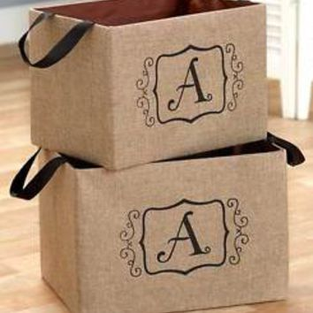 "Set of 2 Burlap Monogram Letter ""A"" Storage Oraganizer Bins Kid's Toys Books"