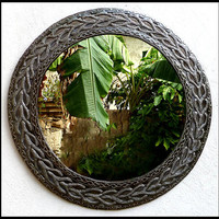 "Metal Mirror Wall Hanging,Basketweave, Handcrafted Metal Mirrors, Home Decor - 23"", Hammered Haitian Recycled Steel Drum Art - M-127-24"