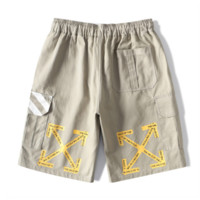 Off White New fashion letter cross arrow print couple shorts Gray