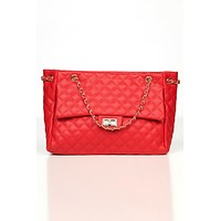Heading Out Quilted Faux Leather Tote (Red)