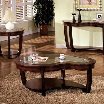 Solano Glass Top End Table Dark Cherry