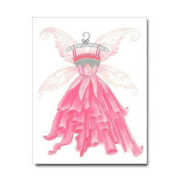 Kids Girls Wall Art, Fairy Dress Print, Girls room Decor, Girls Wall Art, Girl Nursery Decor, Fairies Wall Art, Fairies Nursery, Kids Decor