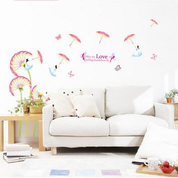 Dandelion umbrella sitting room TV setting wall of household adornment wall decoration on the wall SM6