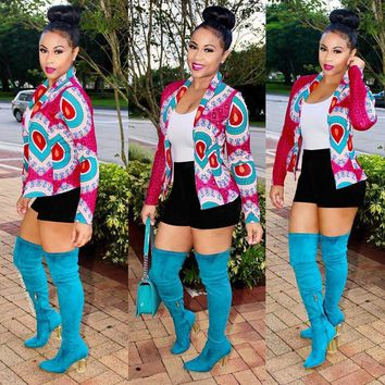 US Women Dashiki Long Sleeve Fashion African Print Short Casual Jacket Cardigan