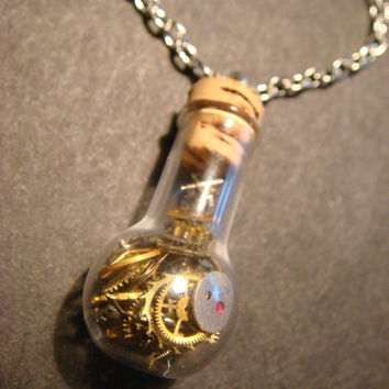 Steampunk Necklace- Gears and Watch Parts in a Glassbulb Vial (587)