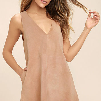 Free People Retro Love Blush Pink Suede Leather Dress