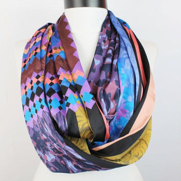 satin tribal infinity scarf, scarf, scarves, long scarf, loop scarf, gift