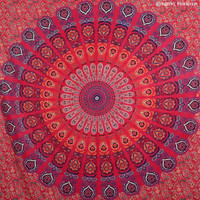 Red Psychedelic Bright Floral Mandala Hippie Tapestry Bedspread on RoyalFurnish.com
