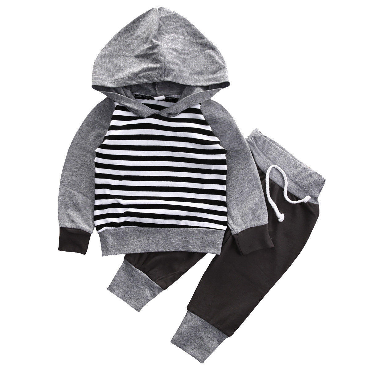 3ad954be75eb 2016 Infant Kids Baby Boy Girl Clothes Striped Hooded T-shirt Top+Pants  Outfit Set cl