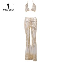 Missord Sexy halter two-pcs see through lace jumpsuit