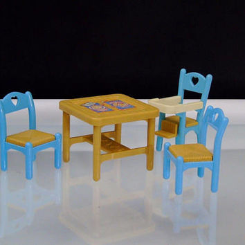 1993 Fisher Price Dinette Set Loving Family Dollhouse Furniture Flip Top Table