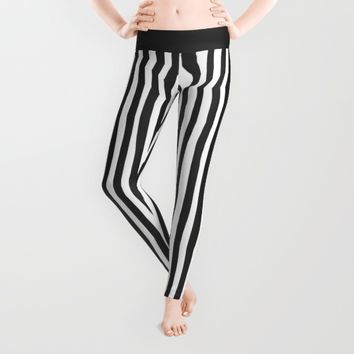 Black and White Vertical Stripes Leggings by Abigail Larson