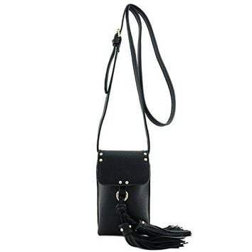 Cell Phone Crossbody Bag with Tassel Accent