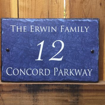 Customizable Blue Slate Home Address House Sign Handmade and Personalized