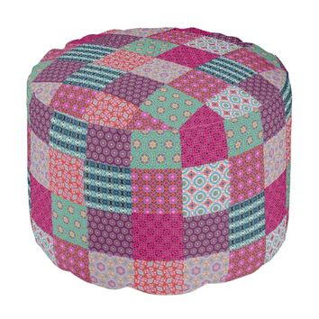Funky Pattern Patchwork Quilt Pouf by KCS