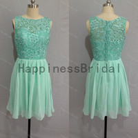 High quality dress 2014,mint formal dress,short prom dress ,lace chiffon prom dress,short evening dress,hot sales dress,formal evening dress