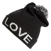 Junior Women's Amici Accessories 'Love' Pompom Beanie