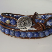 Sodalite Beaded Leather Wrap Braclet with Tree of Life Button