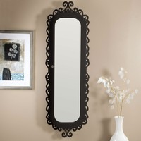 Wall-Mounted Jewelry Armoire Mirror with Gloss Black Scrollwork Border
