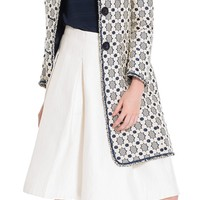 Designer Floral Jacquard Coat With Short Fringed Trim by Leon Max | Max Studio Official