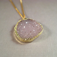 Drusy Necklace, Pink Druzy Gold Necklace, Gold Fill Chain Necklace, Druzy Necklace, Organic Jewelry, Dusty Rose, Gift for Her