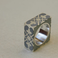 Statement ring, Bold concrete ring, Damask pattern