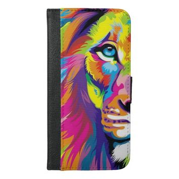 Colorful Lion iPhone 6 Plus Wallet Case