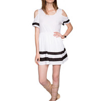 White Striped Cutout Shoulder Dress
