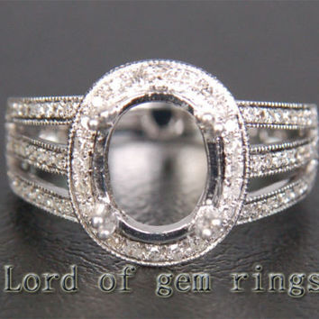 7.5x9.5mm Oval Cut Solid 14K White Gold .33ctw Diamonds Milgrain Semi Mount Ring