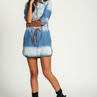 Tied Washed Denim Shirt Dress