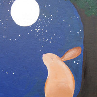 Bunny and the Full Moon Original Acrylic Painting by laurenstrom
