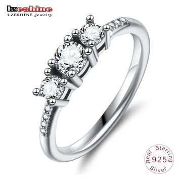 LZESHINE Elegant 100% 925 Sterling Silver Heart Of Gold Puzzle Rings Stack For Women Wedding Rings Set Jewelry