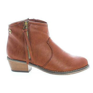 Dorado11 Tan Pu By Breckelle's, Western Cowgirl Tassel Zip Up Faux Wooden Heel Ankle Boots