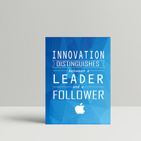 "Leaders Life Quote – ""Innovation distinguishes between a leader and a follower."" 8"" x 10"" & A3 Poster Wall Decor,Typo Poster, Steve Jobs"