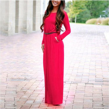 Long Sleeved Maxi Dress with Belt