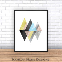 Mountains print, Scandinavian print, Abstract wall art, geometric art, watercolor abstract, minimalist poster, Colorful decor, modern art