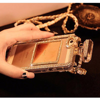 Diamond Look of Bling Perfume Bottle Lanyard Chain Case For iphone 6 6s Plus 5 5s 4s for Samsung Galaxy S4 S5 S6 edge Note 3 4 TPU Cover