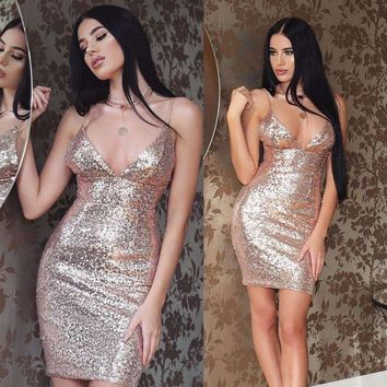 hot selling European and American sexy suspender sequins shinning dress