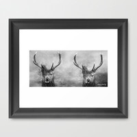 Stag Party Black And White Framed Art Print by Linsey Williams