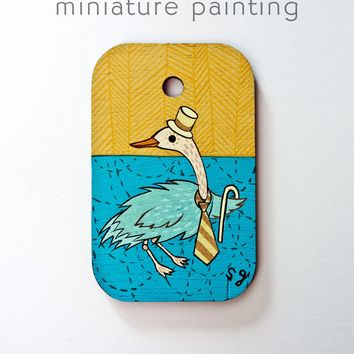 Fancy Bird Miniature Painting by Susie Ghahremani