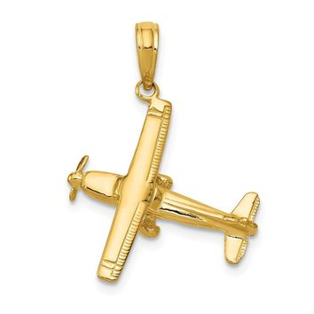 14K Yellow Gold 3-D High-Wing Airplane Pendant
